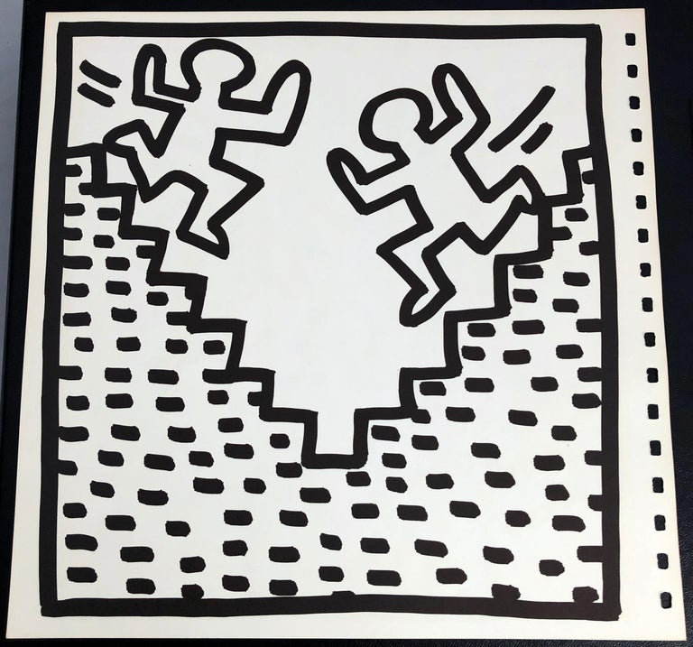Keith Haring (untitled) figurative lithograph 1982:   Double-sided lithographic insert from the seminal spiral bound, 1982 Keith Haring exhibition catalog published by Tony Shafrazi Gallery New York.    Offset lithograph; 9 x 9 inches.   Condition:
