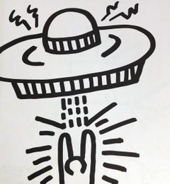 Keith Haring (untitled) UFO lithograph 1982 (Keith Haring spaceship)