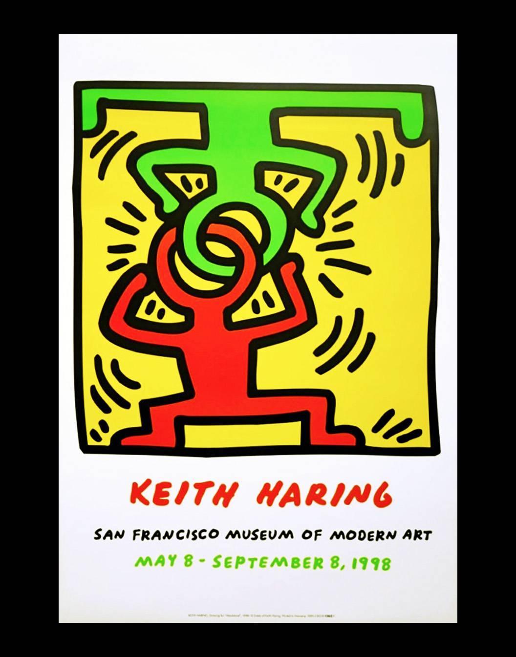 Vintage Keith Haring exhibition poster (Keith Haring San Francisco 1998)