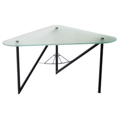 After Louis Sognot Triangular Metal Frossted Glass French Coffee Table, 1950