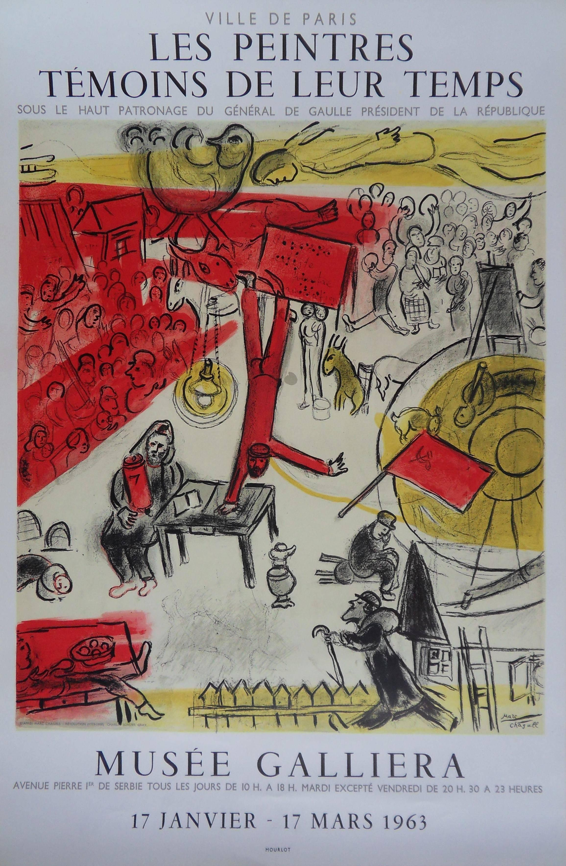 After Marc CHAGALL : Circus, Revolution - Lithograph exhibition poster - Mourlot