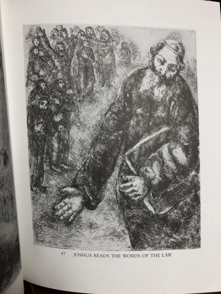 Joshua Reads the Word of the Law (Pencil Signed) - Gray Figurative Print by (after) Marc Chagall