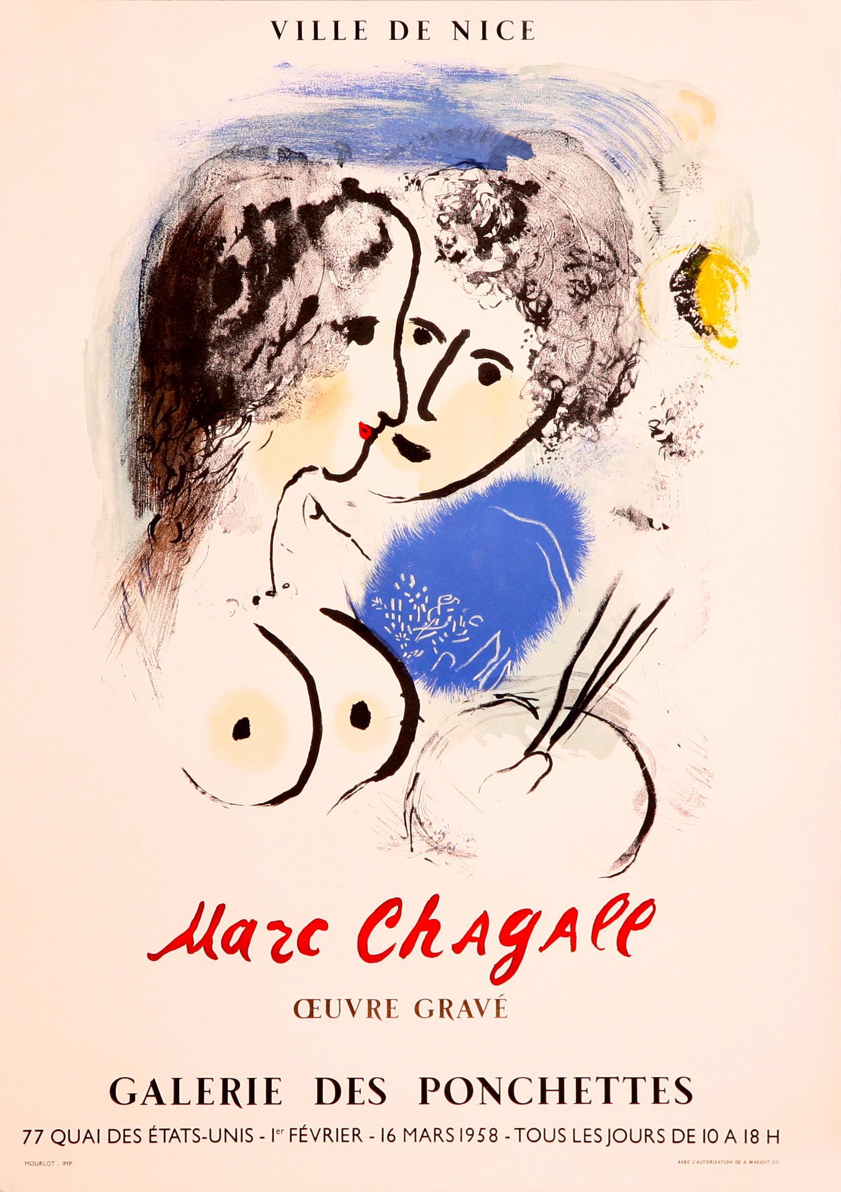 Le Peintre a la Palette-Galerie des Pochettes-Ville de Nice, Lithographic Poster