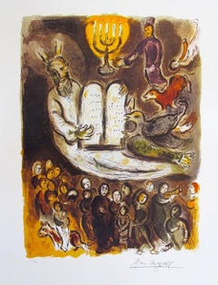 "Marc Chagall ""Moses Shows The Elders The Tablets Of The Law"" Numbered Lithograph"