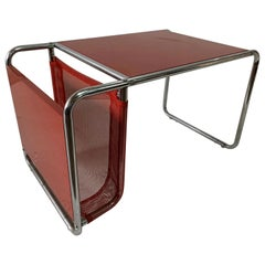 After Marcel Breuer, a Bauhaus Style Side Table and Magazine Holder