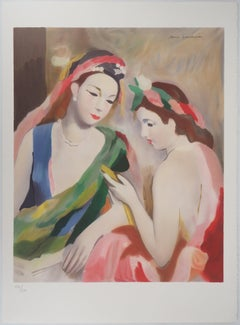 Two Women Looking at a Picture - Lithograph