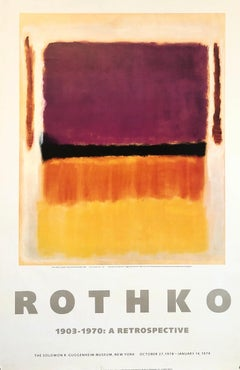 Vintage 1970s Mark Rothko Gallery Museum Poster Abstract Expressionism