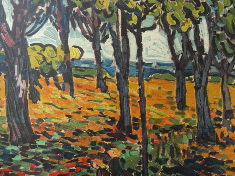 Woods in Chatou - Lithograph, 1972 - Gray Landscape Print by (after) Maurice de Vlaminck