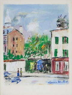 Le Village Inspire, scenes from the Montmartre District of Paris, Utrillo 1950