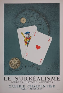 """Playing Cards - Lithograph poster for """"Le Surrealisme"""" by Max ERNST (Mourlot)"""