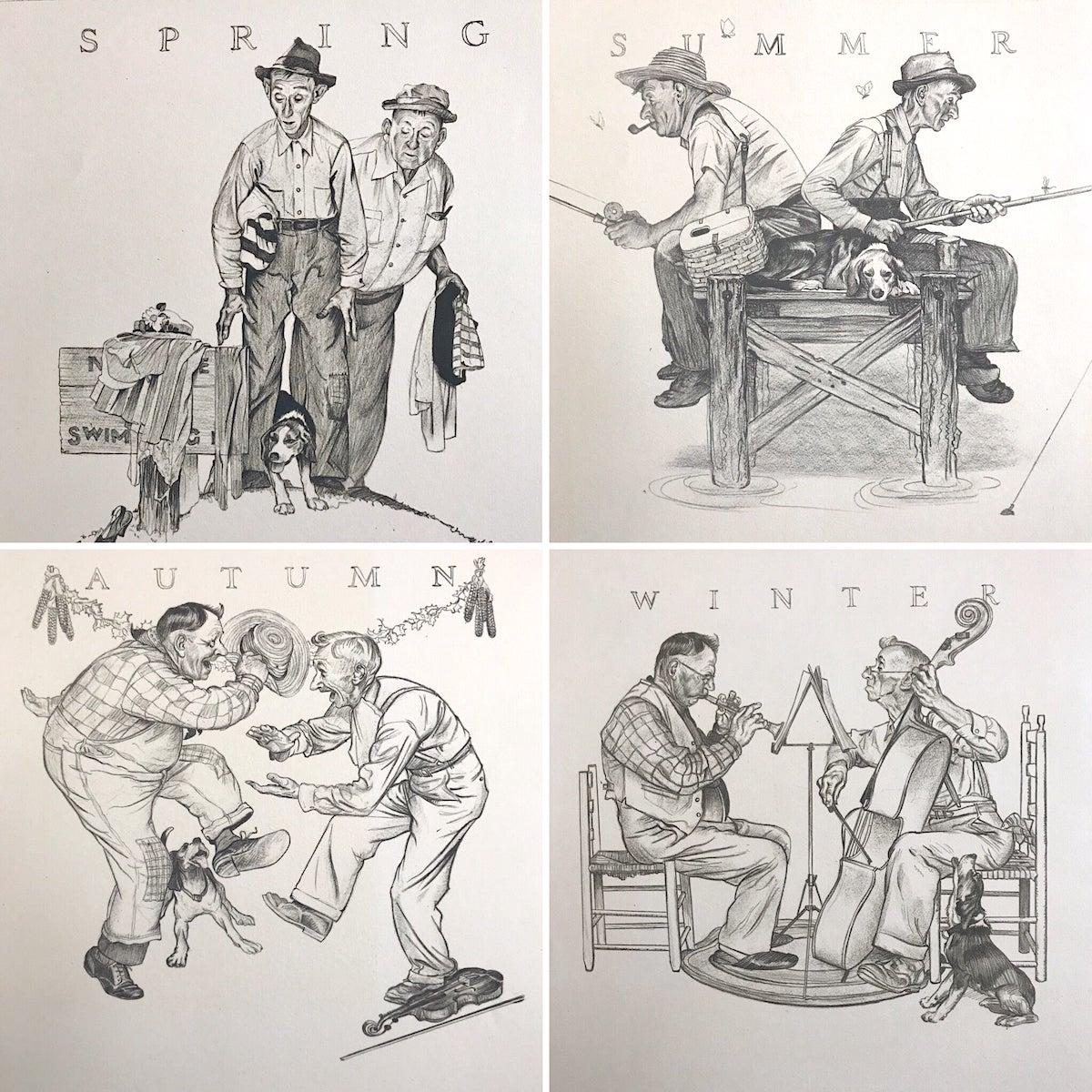 THE FOUR SEASONS 4 Hand Drawn Lithographs, American Illustration Art, Americana