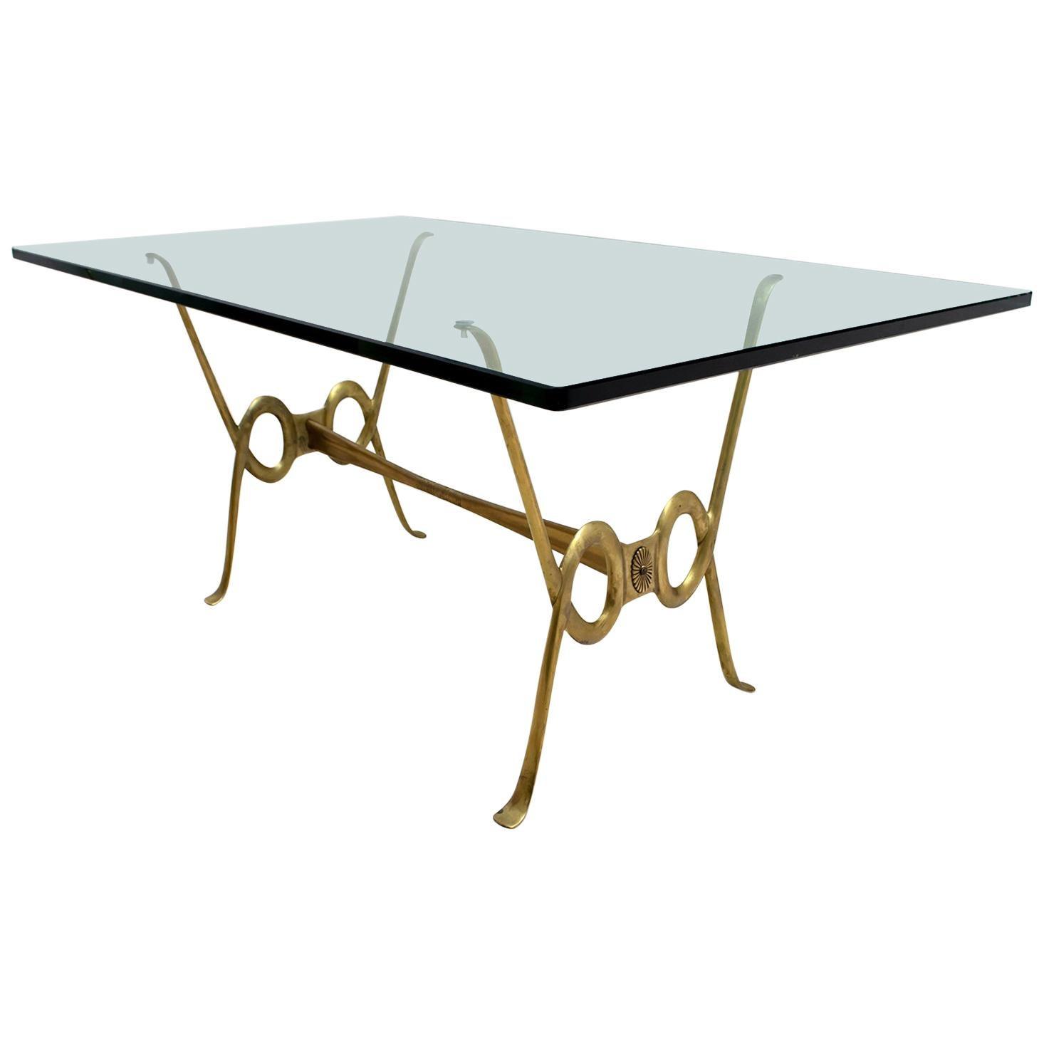 After Osvaldo Borsani Midcentury Italian Brass and Crystal Coffee Table, 1950s