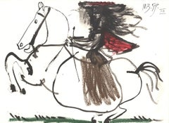 "Equestrian-10.5"" x 14.25""-Lithograph-1959-Cubism-horse"