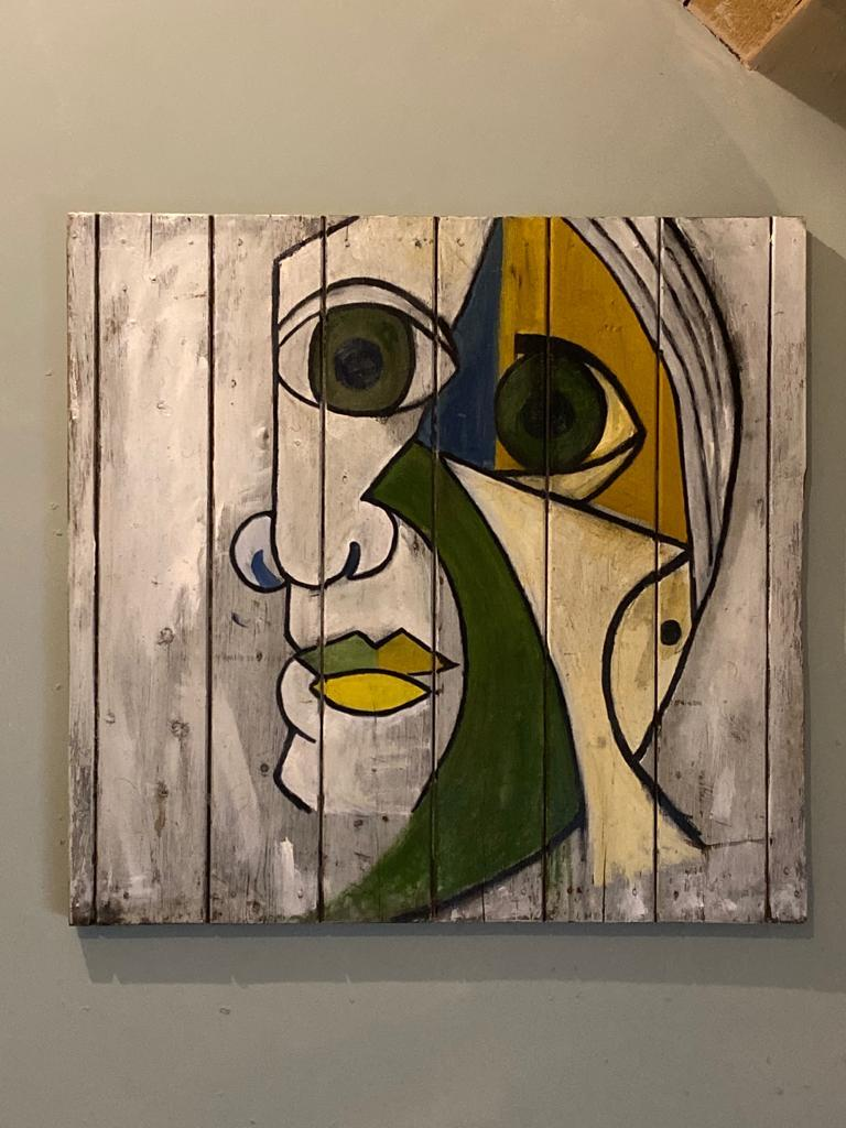Contemporary Abstract Oil Painting Portrait Dora Maar 1936 after Pablo Picasso - Brown Portrait Painting by (after) Pablo Picasso