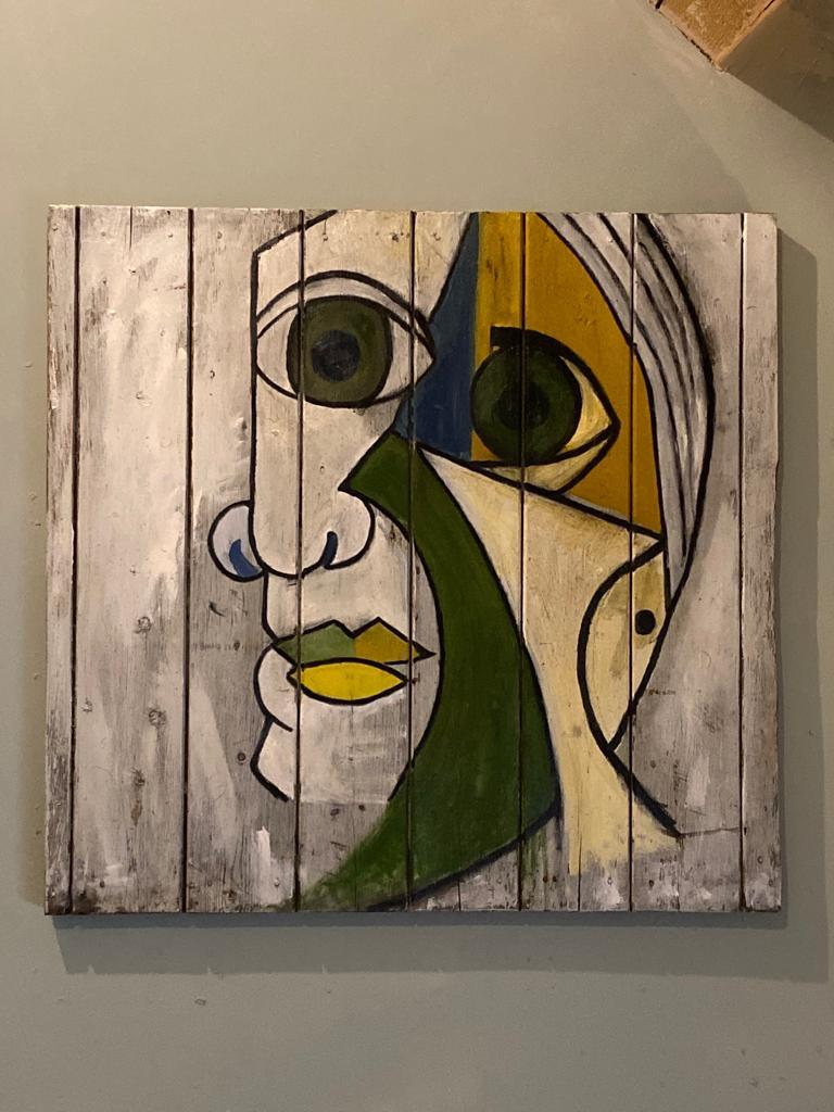 After Pablo PICASSO (1881-1973, Spanish) Unknown Contemporary Artist Portrait of Dora Maar (1907-1997, French) 2020 Oil on found wood (barn shutter) 47 x 45.5 inches  Beautifully sensitive depiction of Dora Maar from 1936 by a young unknown