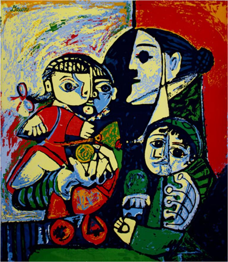 """(after) Pablo Picasso Figurative Painting - """"Francoise, Claude & Paloma,"""" Porcelained Enamel on Steel signed Dawn"""
