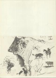 1959 Pablo Picasso 'Bull Study' Lithograph