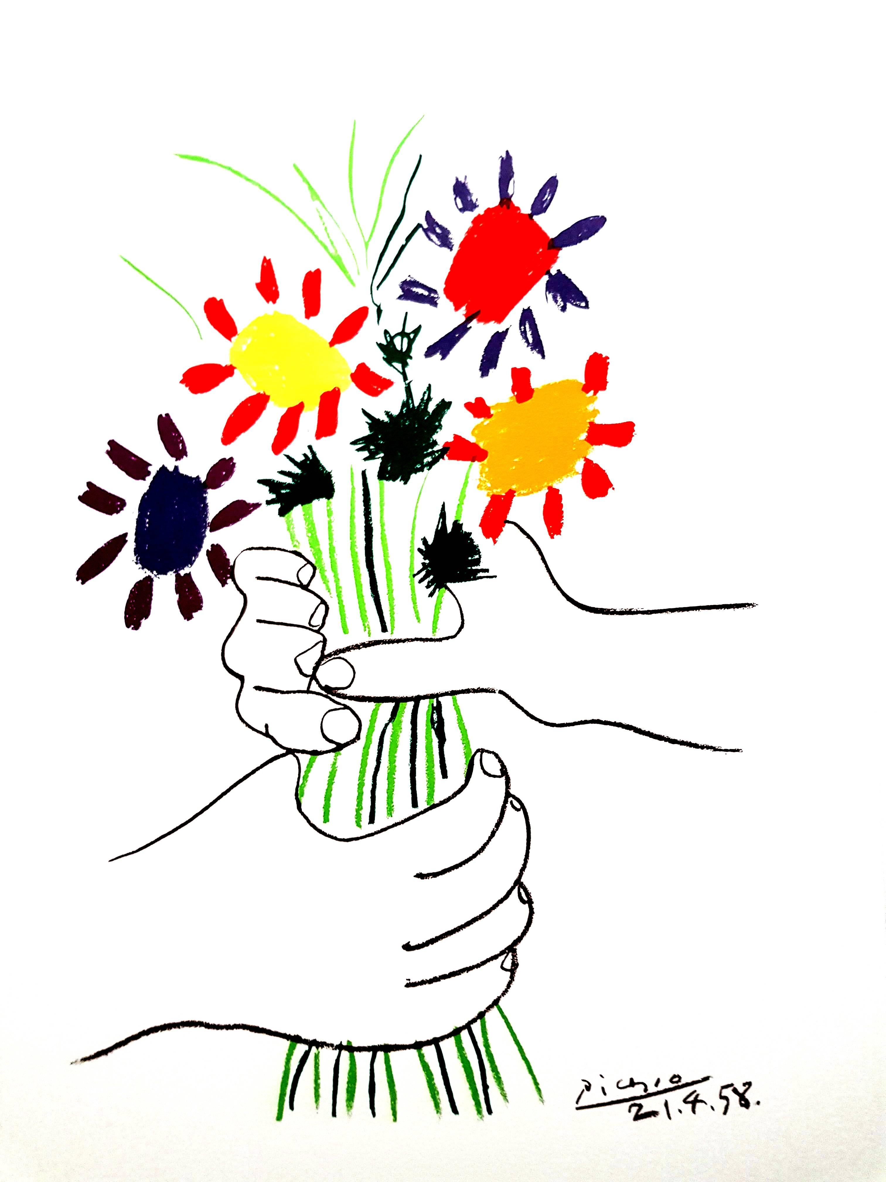 After Pablo Picasso - Colorful Flowers - Lithograph