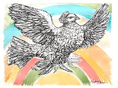 (after) Pablo Picasso - Flying Dove with a Rainbow - Lithograph