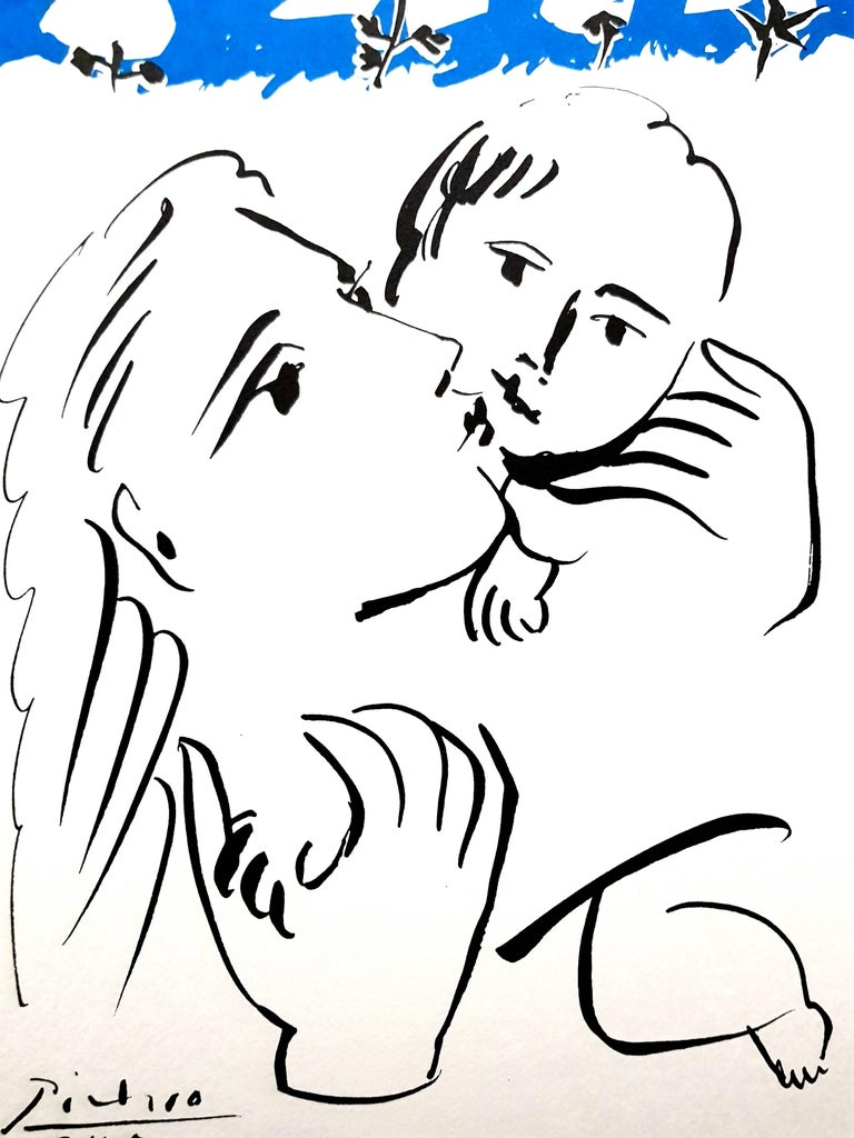 After PABLO PICASSO (1881-1973) Mother and Child  Dimensions: 50 x 40 cm Signed and dated in the plate Posthumous reproduction of an original drawing published by Edition Succession Picasso, Paris. Editions de la Paix Edition of Unknown Size