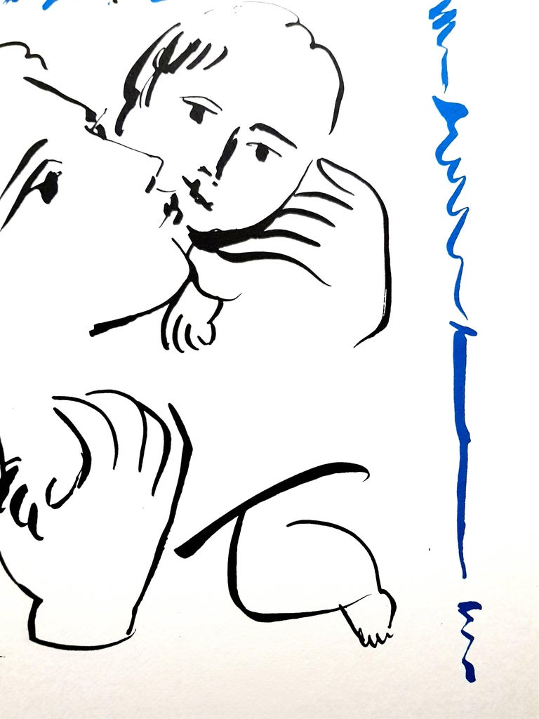 After Pablo Picasso - Mother and Child - Lithograph For Sale 2