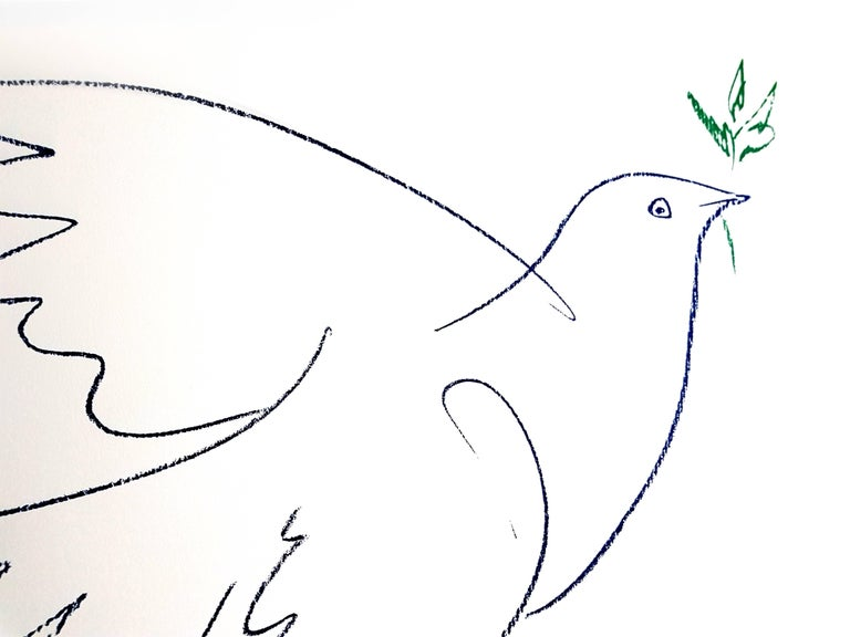 After Pablo Picasso - Peace Dove - Lithograph - Gray Figurative Print by (after) Pablo Picasso