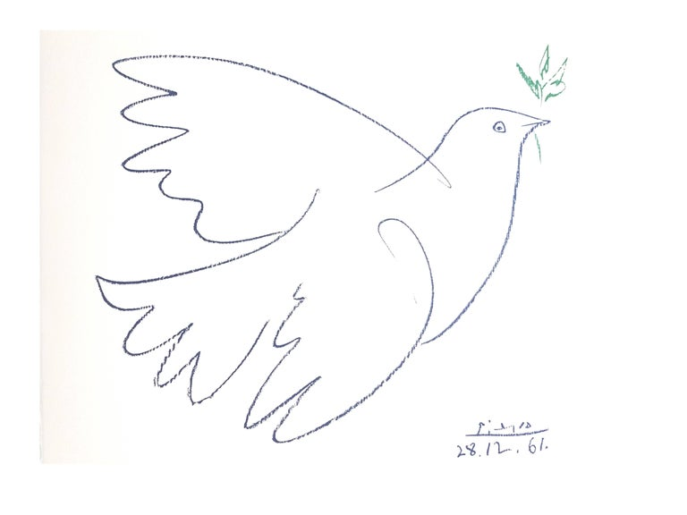 After PABLO PICASSO (1881-1973) Peace Dove 1961 Dimensions: 65 x 50 cm Signed and dated in the plate Edition Succession Picasso, Paris (posthumous reproductive edition) Editions de la Paix  Picasso is not just a man and his work. Picasso is always a