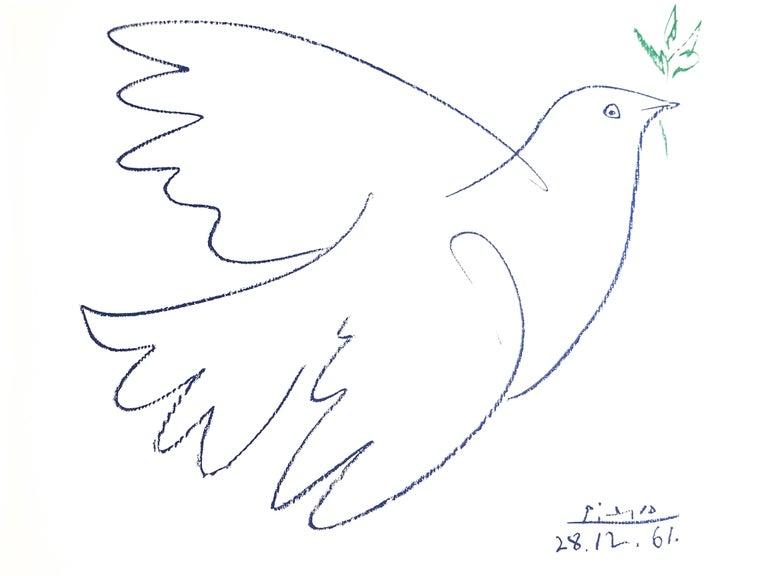 (after) Pablo Picasso Figurative Print - After Pablo Picasso - Peace Dove - Lithograph