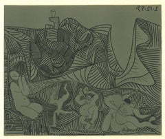 Bacchanale au Hibou  - Linocut Reproduction After Pablo Picasso - 1962