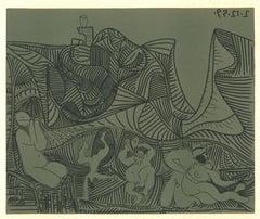 Bacchanale au Hibou  - Linocut Reproduction After Pablo Picasso - 1962