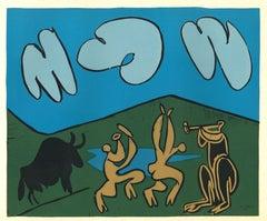 Bacchanale au Taureau Noir - Linocut Reproduction After Pablo Picasso - 1962