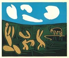 Bacchanale au Taureau - Original Linocut After Pablo Picasso - 1962