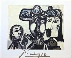 Couple et Enfant au Rameau d'Olivier, Lithograph, Abstract Family Neutral Colors