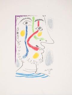Cubist Portrait of an Happy Sailor - Lithograph