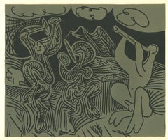 Danseurs et Musicien  - Linocut Reproduction After Pablo Picasso - 1962