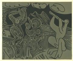Danseurs et Musicien  - Linocut Reproduction After Pablo Picasso - 1962