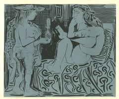Deux Femmes - Original Linocut After Pablo Picasso - 1962