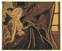 Deux Femmes près de la Fenetre - Original Linocut After Pablo Picasso - 1962