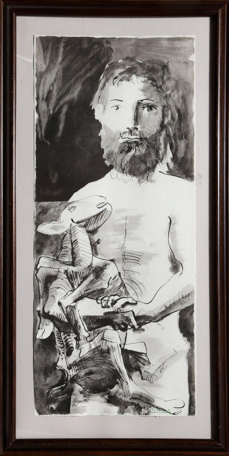 """Artist: Pablo Picasso (after), Spanish (1881 - 1973) Title: Etude pour l'Homme au Mouton from the portfolio """"La Flute Double""""  Year: 1967 Medium: Lithograph on wove paper, stamped signed in green Edition Size: 500 (unnumbered) Size: 38 x 16 in."""