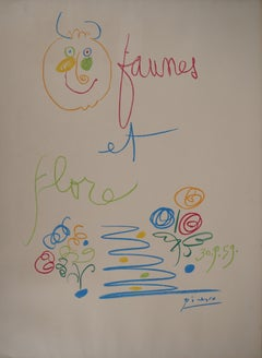 Faun and Flowers - Lithograph on Arches vellum - Mourlot 1960