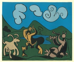 Faunes et Chèvre - Reproduction After Pablo Picasso - 1962