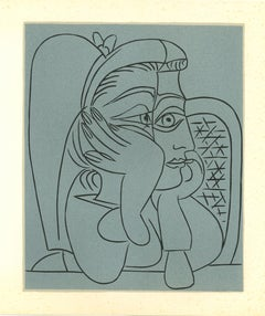 Femme Accoudée - Original Linocut After Pablo Picasso - 1962