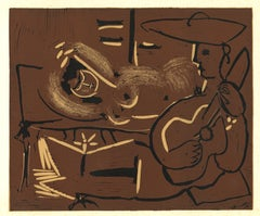 Femme Couchée et Guitariste - Original Linocut After Pablo Picasso - 1962