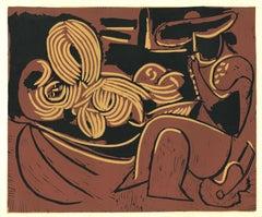 Femme Couchée et Homme à la Guitare- Original Linocut After Pablo Picasso - 1962