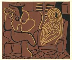 Femme dans un Fauteil et Guitariste- Original Linocut After Pablo Picasso - 1962
