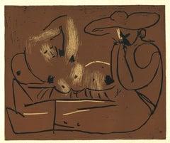 Femme Nue Couchée - Original Linocut After Pablo Picasso - 1962