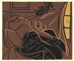 Femme Regardant par la Fenêtre - Linocut Reproduction After Pablo Picasso - 1962