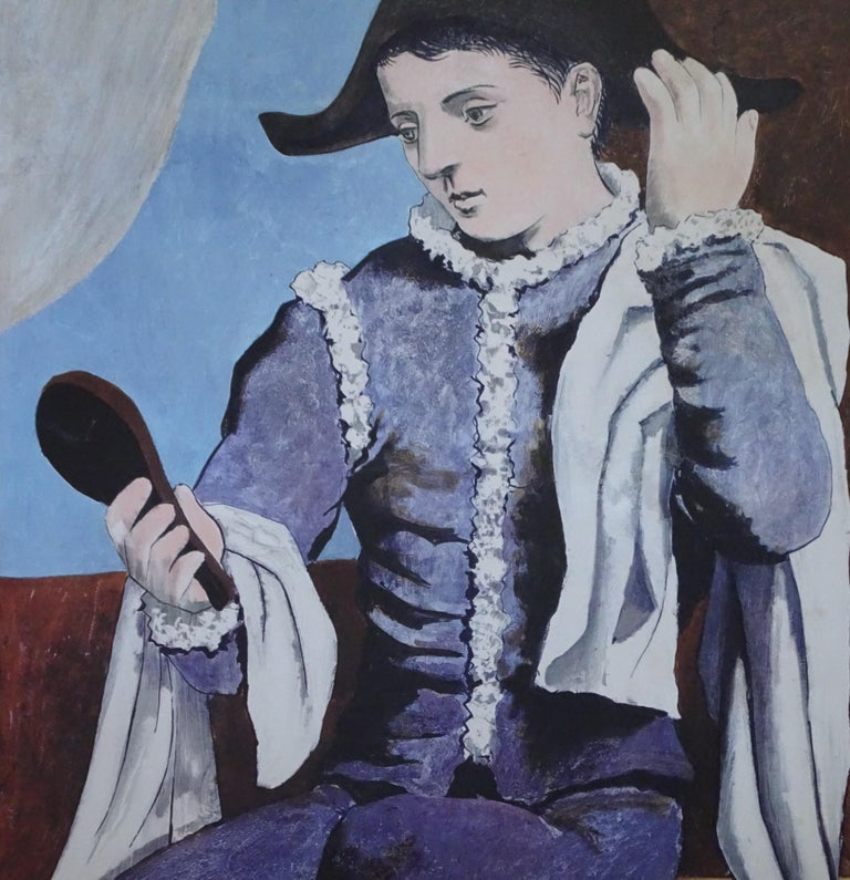 Harlequin is a lithographic poster for the exhibition at the Knoedler Gallery, Paris, October-November, 1971, by Pablo Picasso. Published by Mourlot, Paris.  Very good conditions, stocked flat, unframed. It shows minor signs of aging, like normal