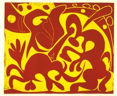 La Pique en Rouge et Jaune - Original Linocut After Pablo Picasso - 1962