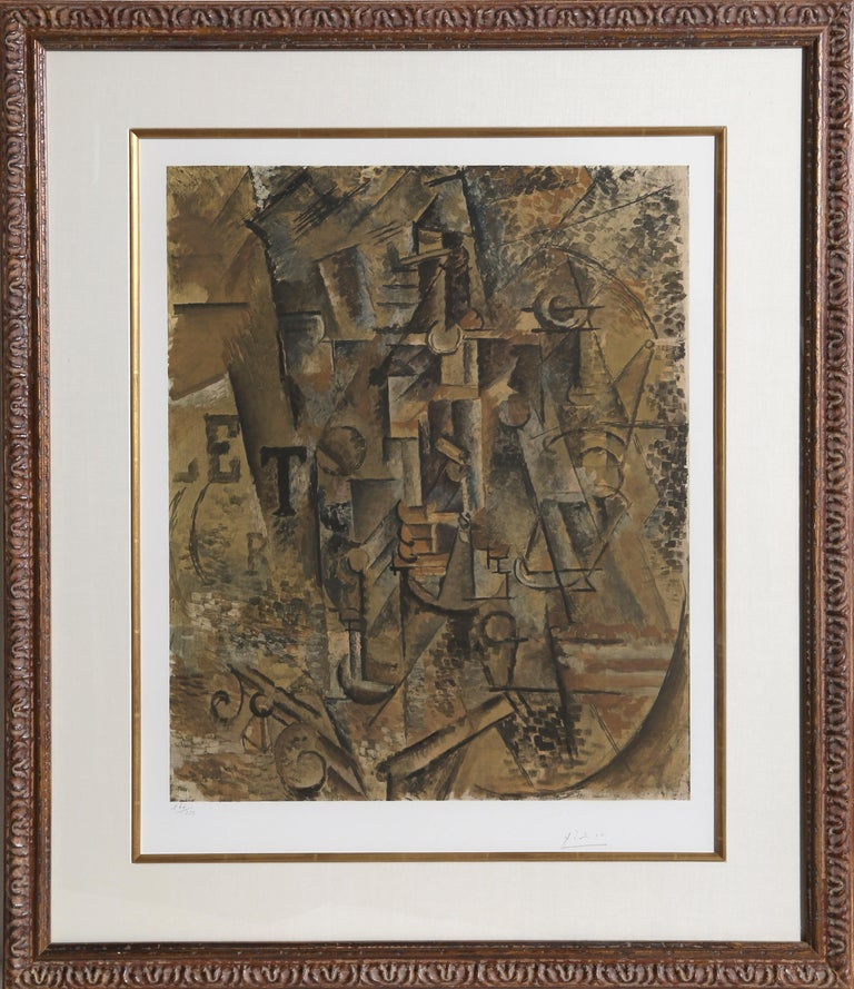 This print is after a cubist oil painting from 1911, depicting a tabletop with a bottle of rum in the center and a pipe in the right foreground. It also includes letters which may refer to the town, Céret, or to the title of a poster or newspaper.